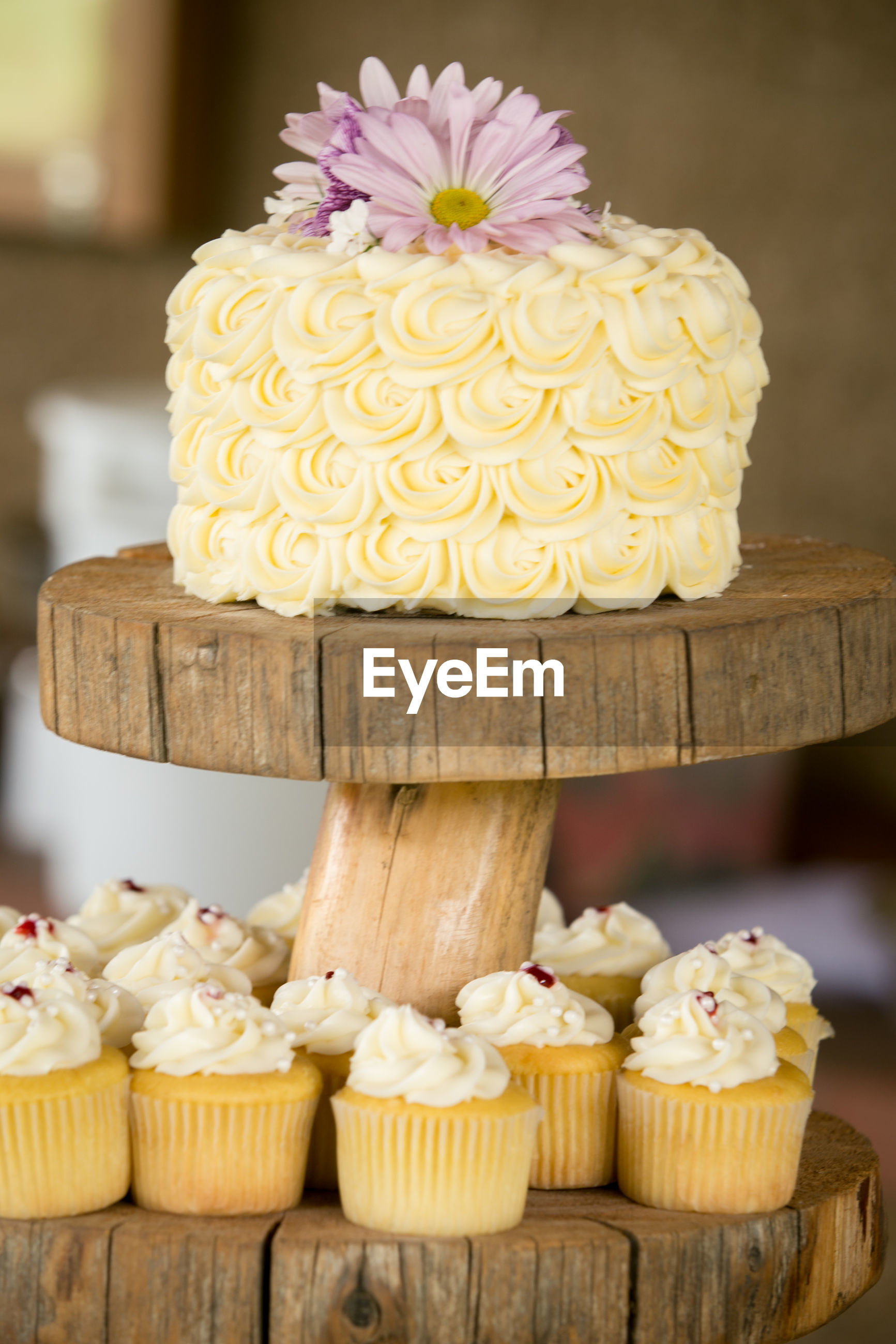 Close-up of wedding cake and cupcakes on wooden stand
