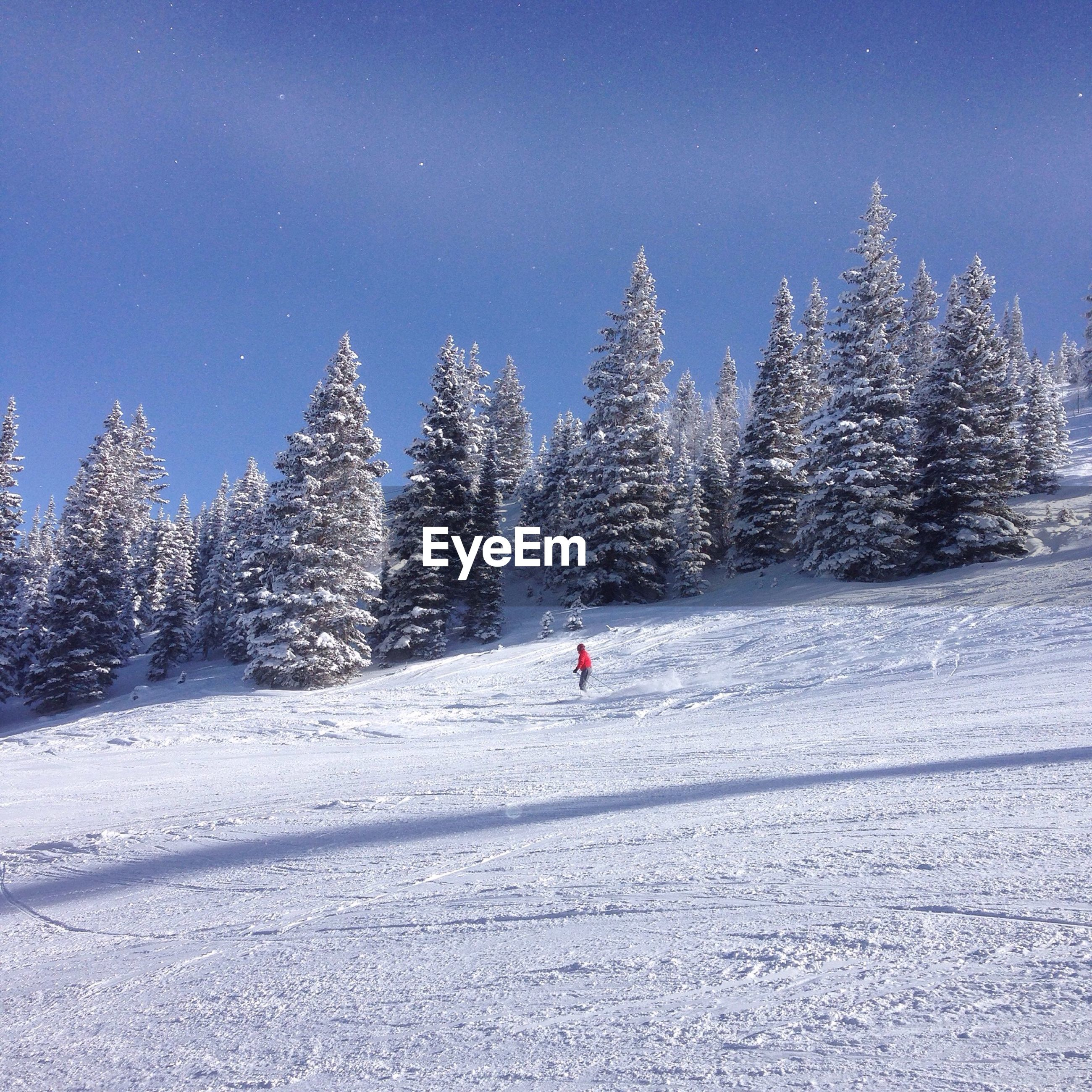 Man snowboarding on mountains during winter