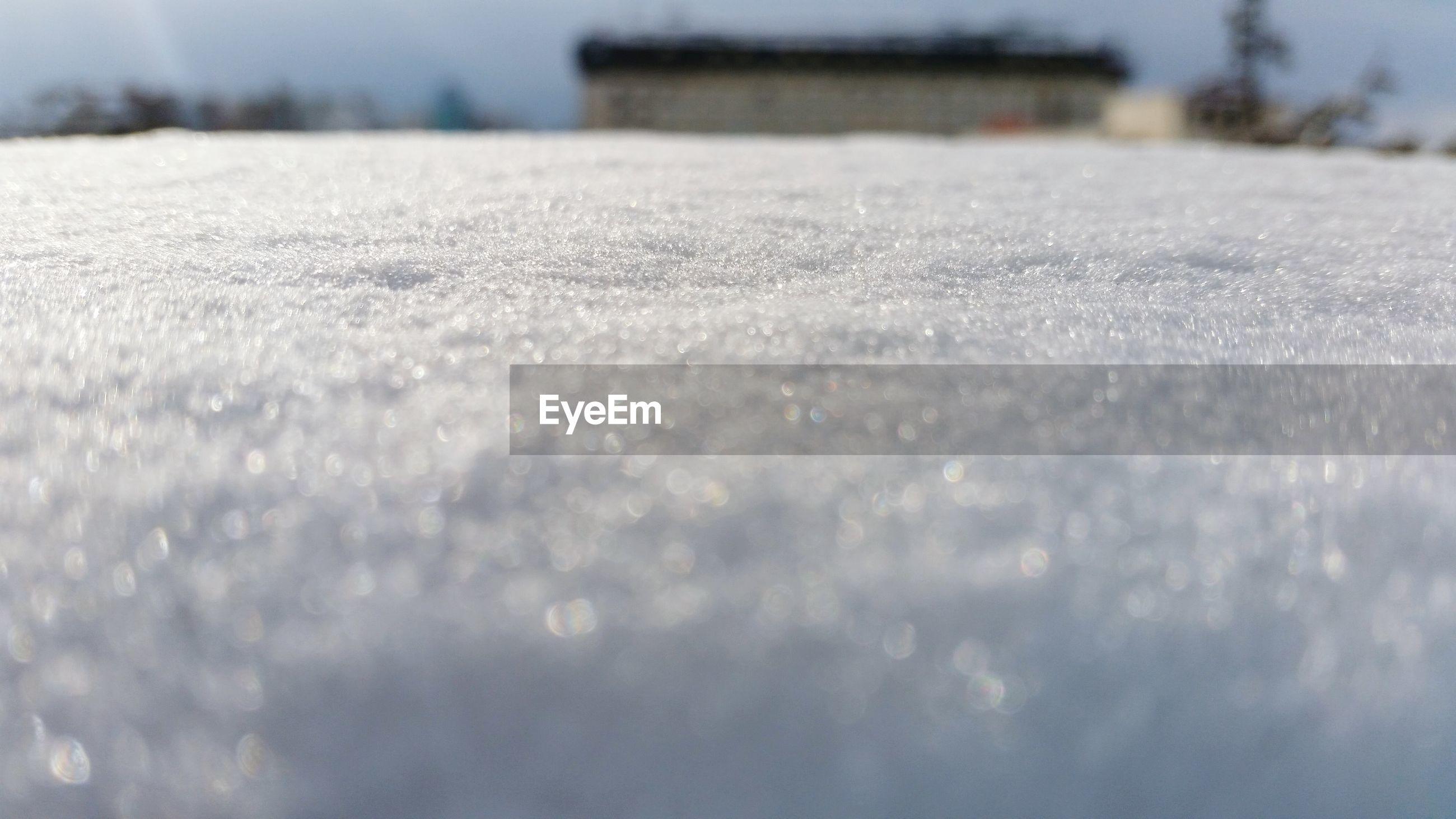Close-up of frozen balcony