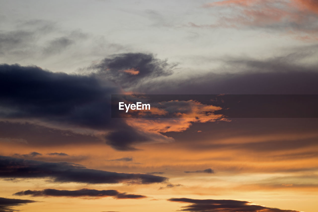 cloud - sky, sky, sunset, beauty in nature, scenics - nature, tranquility, orange color, tranquil scene, no people, nature, idyllic, low angle view, dramatic sky, outdoors, non-urban scene, majestic, cloudscape, overcast, full frame