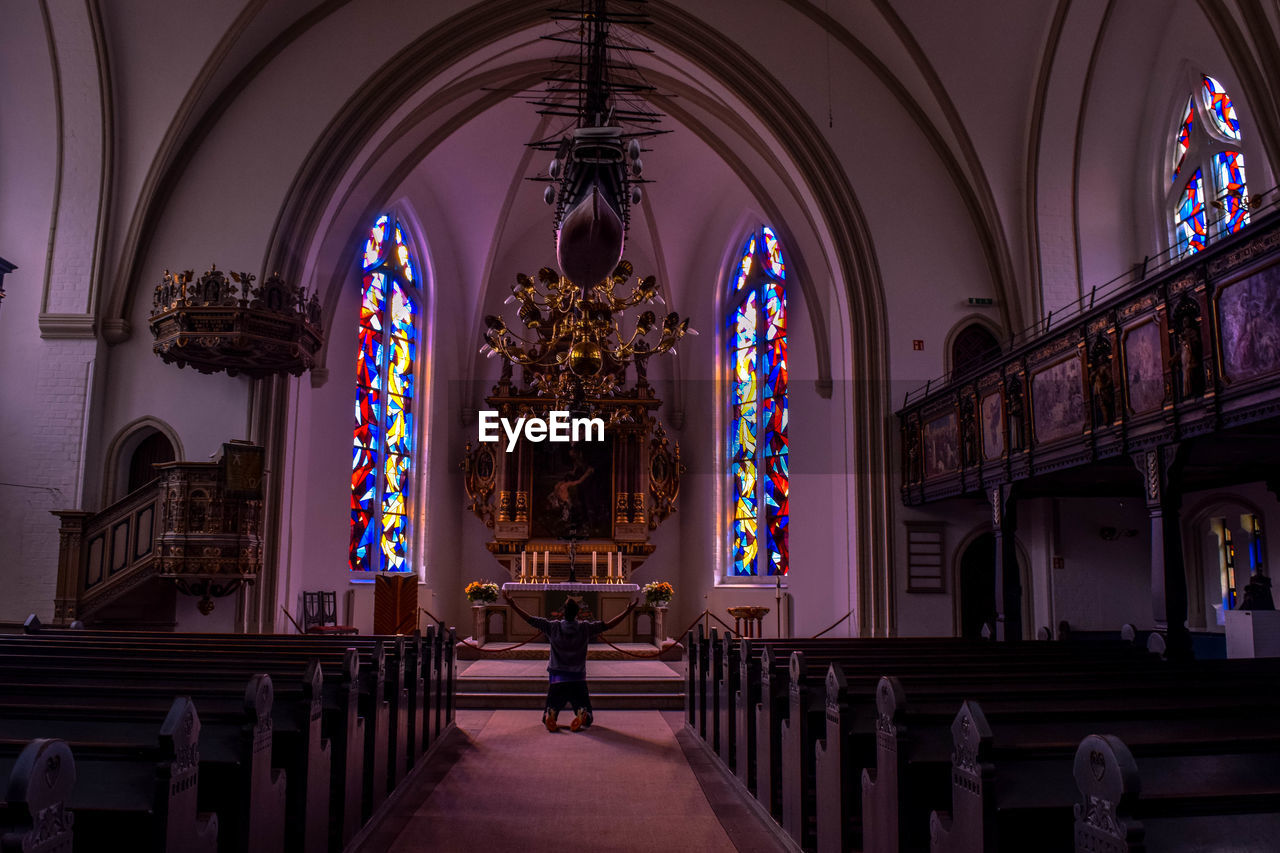 religion, place of worship, spirituality, pew, arch, indoors, history, cross, altar, architecture, no people, day