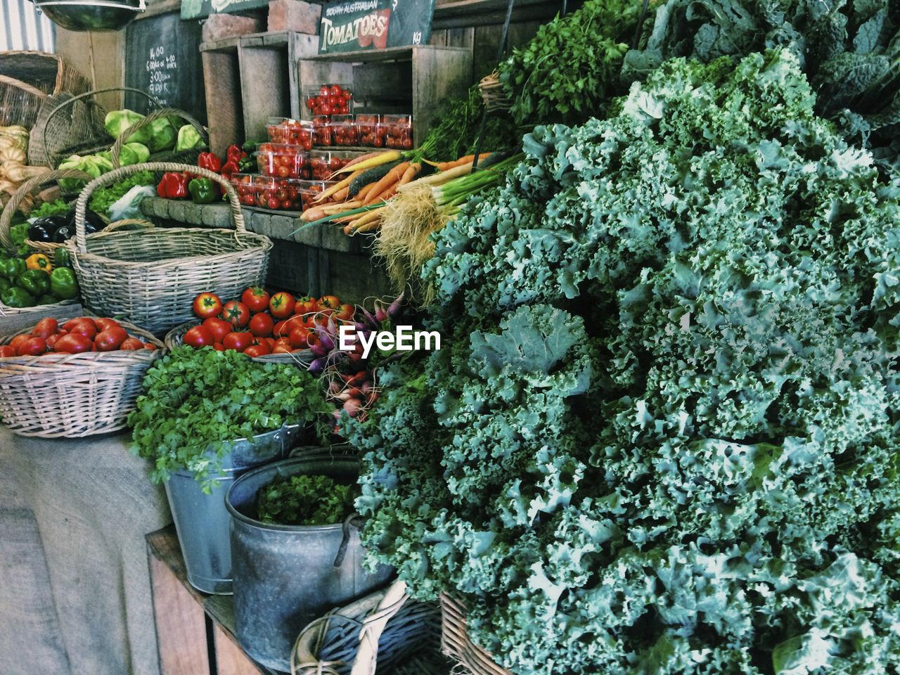 Various Vegetables For Sale On Market Stall