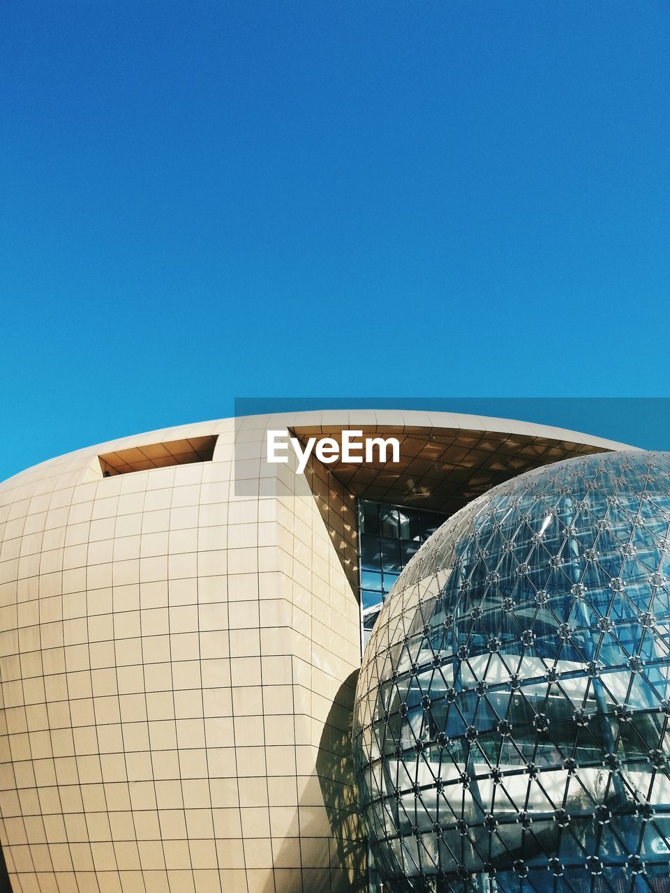 architecture, copy space, built structure, blue, modern, building exterior, clear sky, outdoors, day, no people, futuristic, city, sky