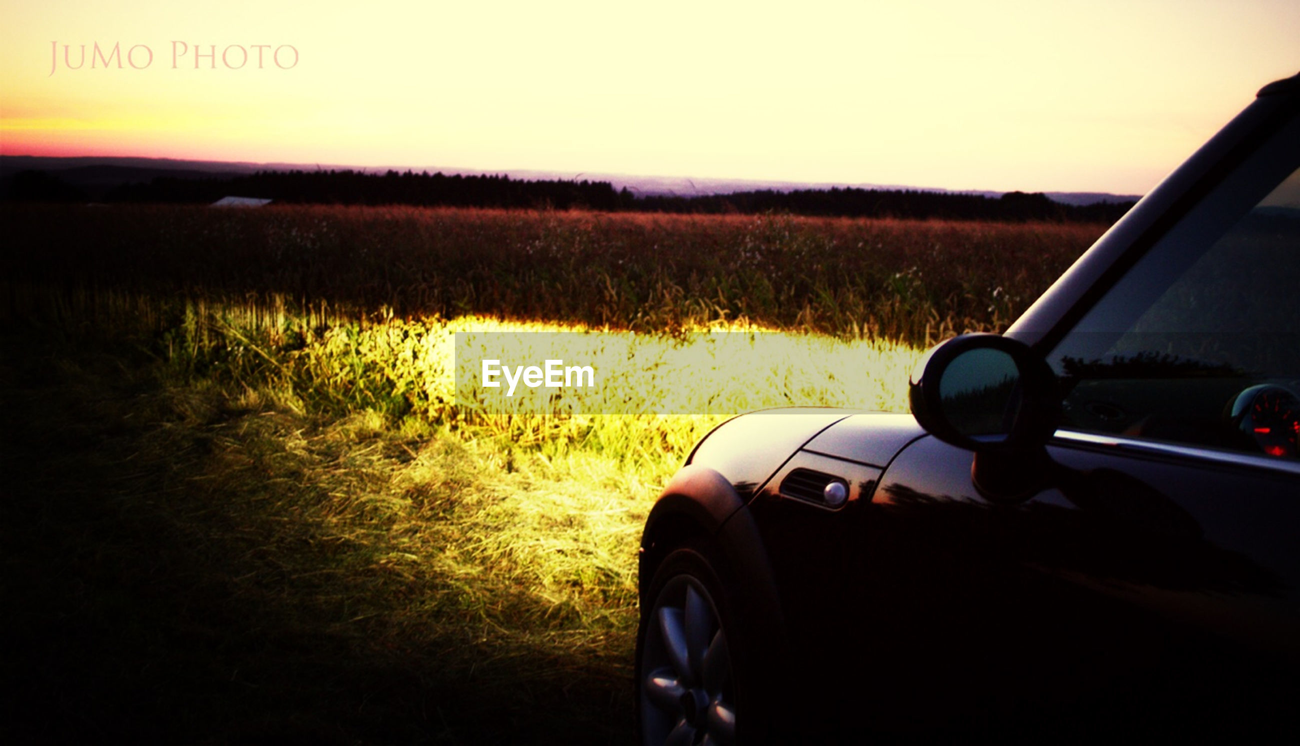 transportation, land vehicle, mode of transport, car, part of, car interior, vehicle interior, travel, cropped, road, landscape, road trip, side-view mirror, field, driving, windshield, sunset, close-up