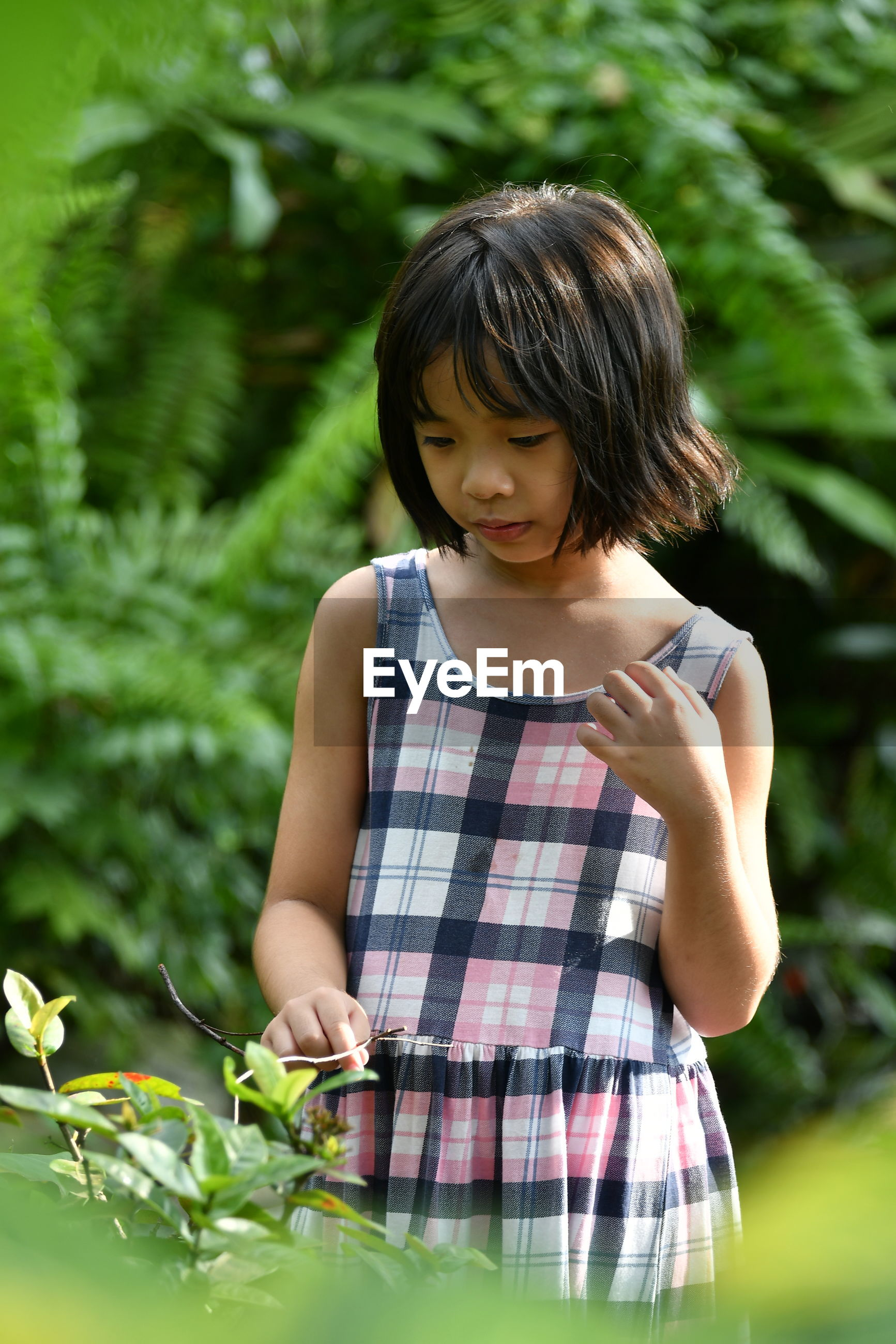 Girl touching leaf while standing against plants