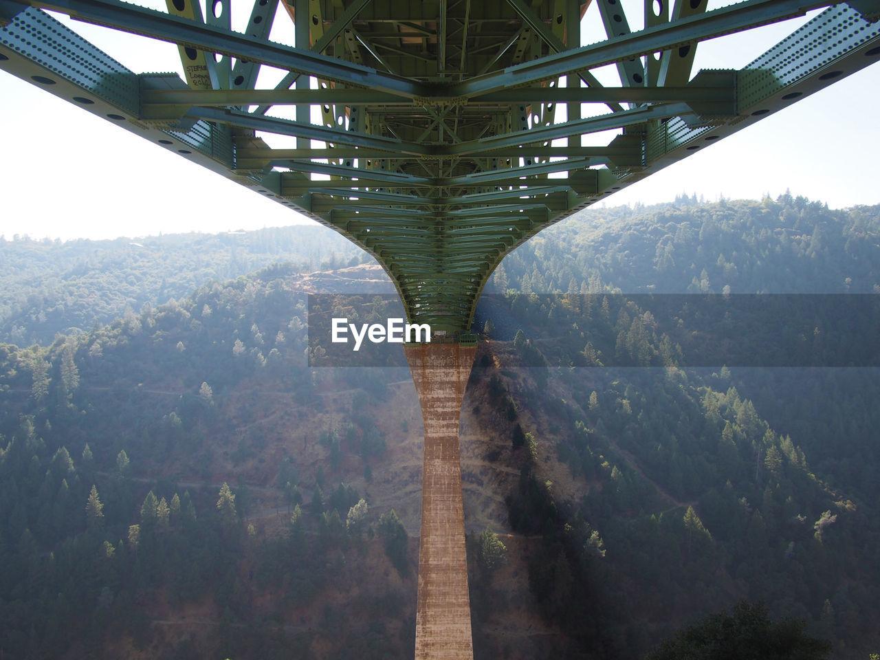 Underneath view of bridge on mountain