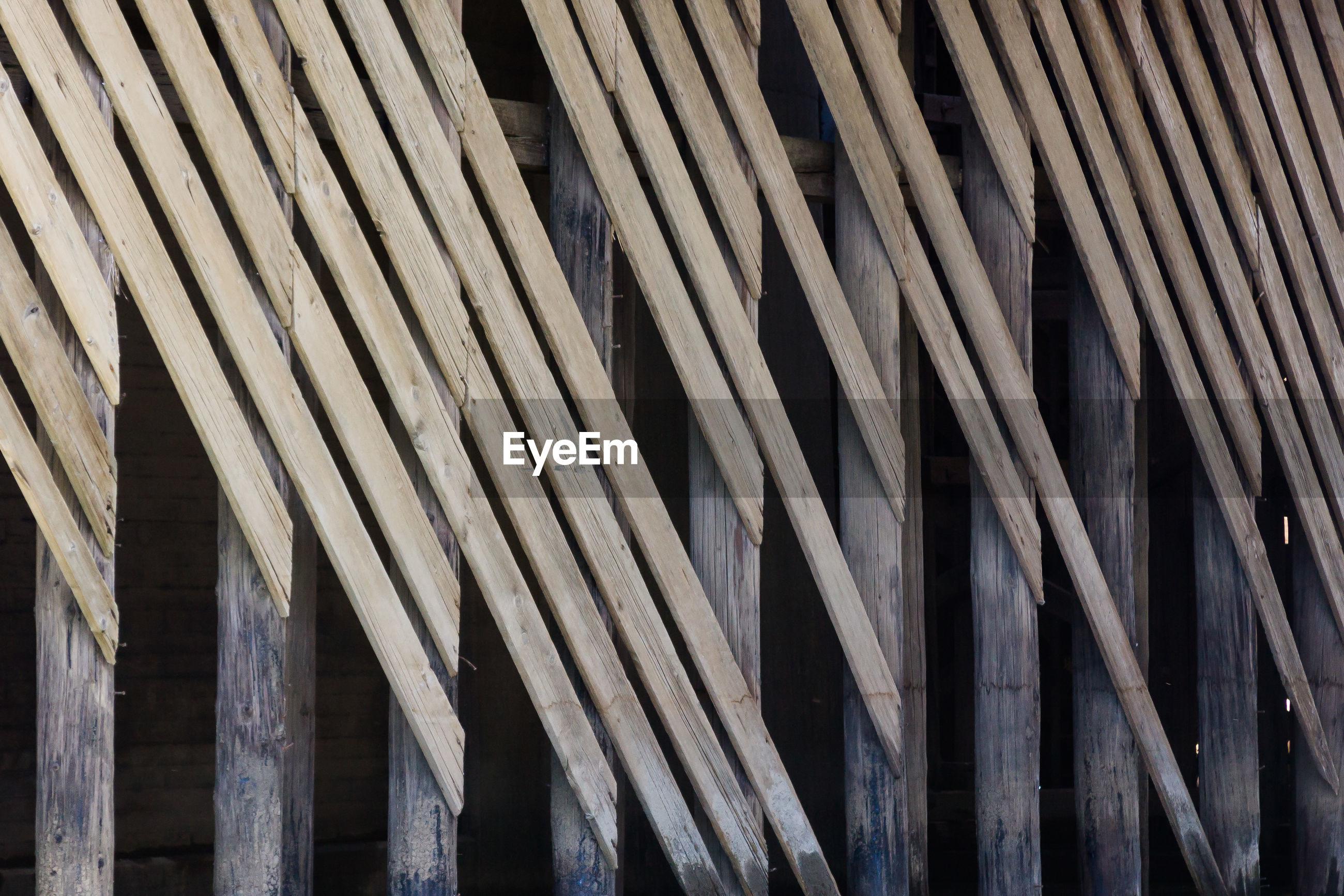 Full frame shot of planks on wooden columns