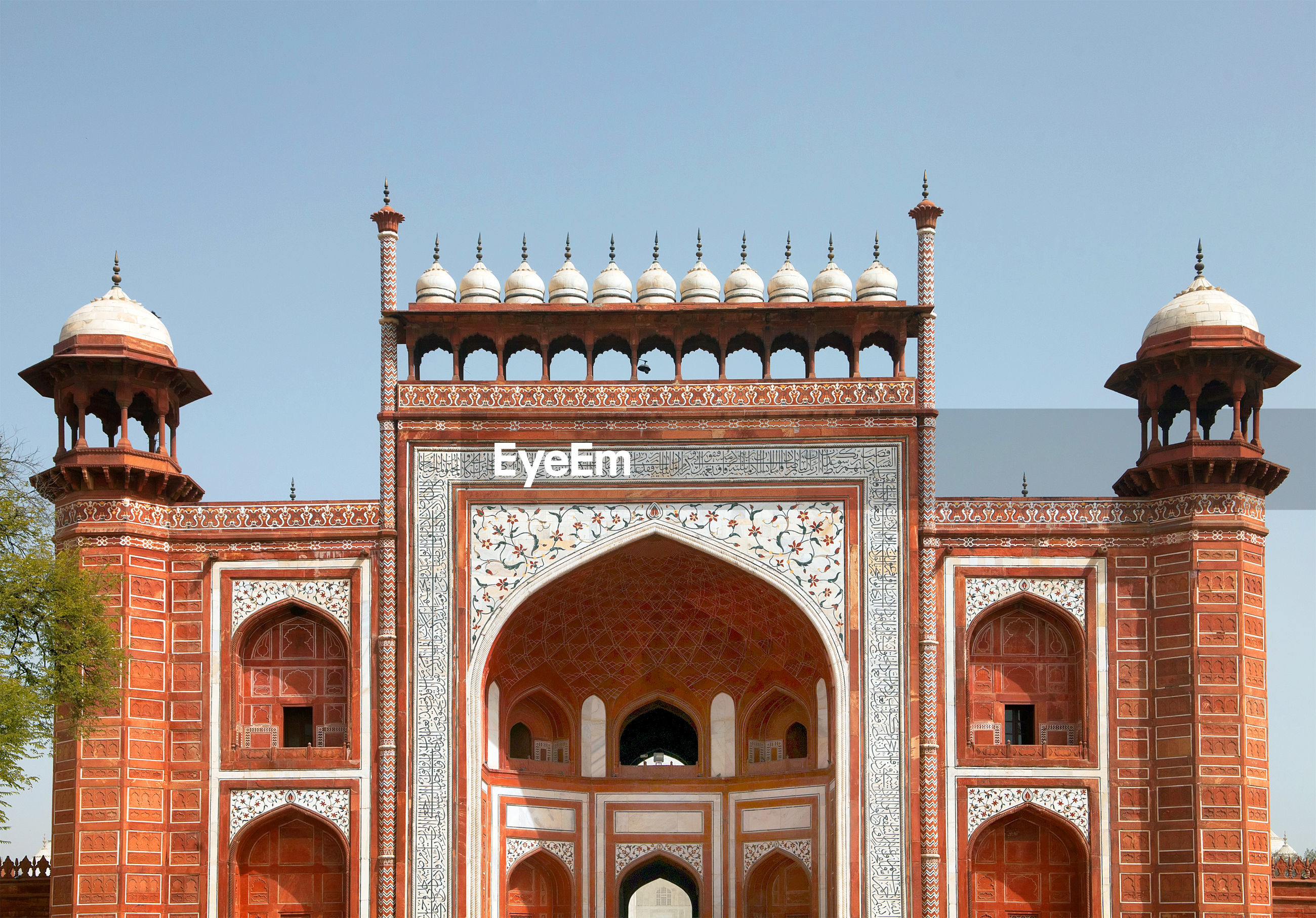 Facade of agra fort against clear sky