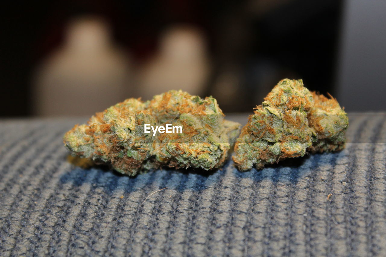 close-up, selective focus, marijuana - herbal cannabis, food, cannabis plant, food and drink, indoors, healthcare and medicine, no people, focus on foreground, medicine, still life, plant, herb, nature, herbal medicine, medical cannabis, narcotic, pattern, snack
