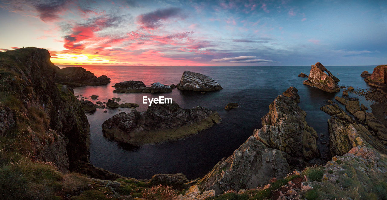 sunset, sea, nature, sky, scenics, rock - object, tranquil scene, beauty in nature, tranquility, water, cloud - sky, no people, outdoors, horizon over water, day