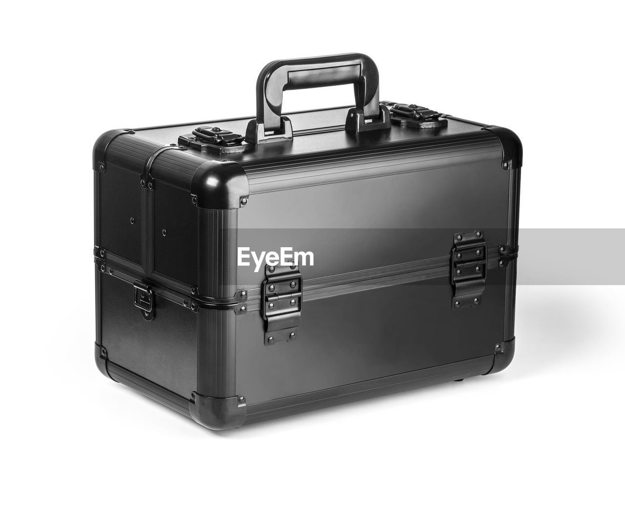 Close-up of black toolbox against white background