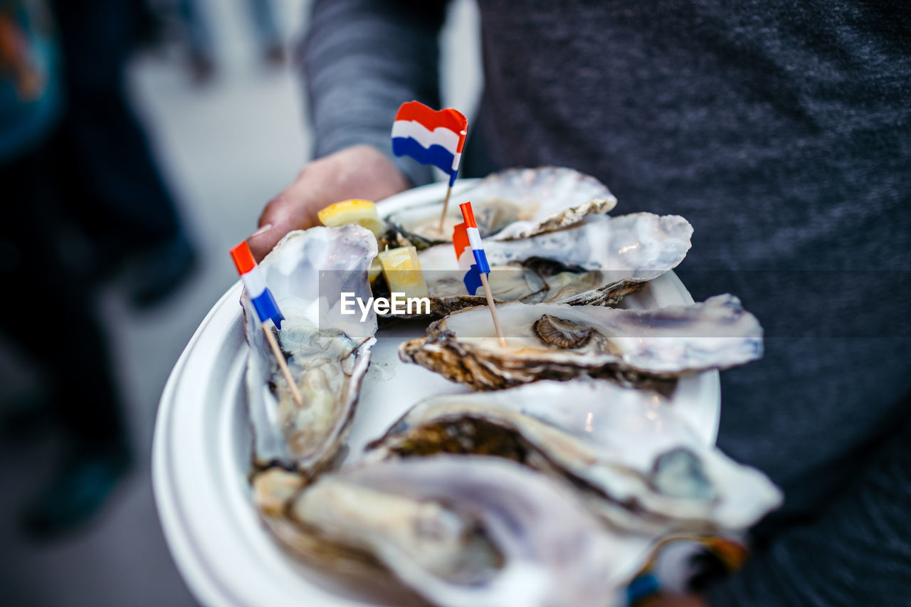 Cropped image of man holding oysters with dutch flag in plate