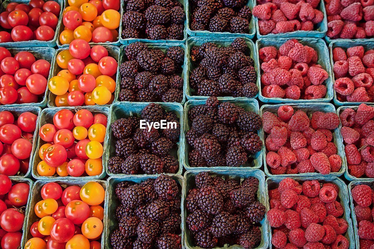 Full Frame Shot Of Fruits And Vegetables For Sale At Market Stall