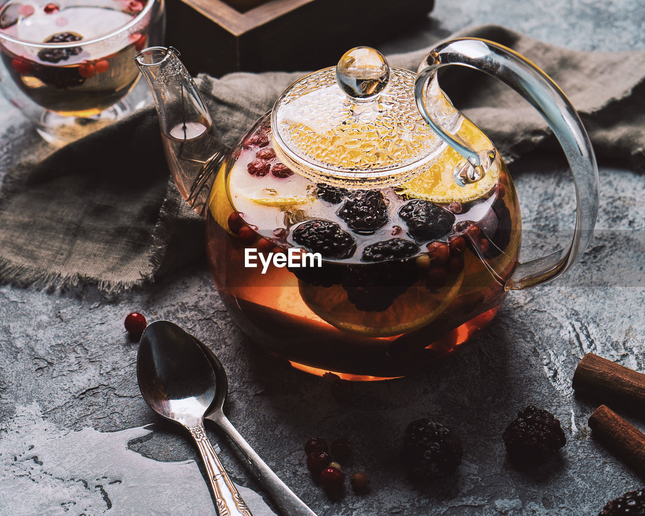food and drink, kitchen utensil, food, table, drink, refreshment, freshness, indoors, spoon, eating utensil, no people, close-up, still life, household equipment, high angle view, tea, cup, teapot, hot drink, kettle, tea - hot drink, crockery, glass, tea cup, black tea, tray