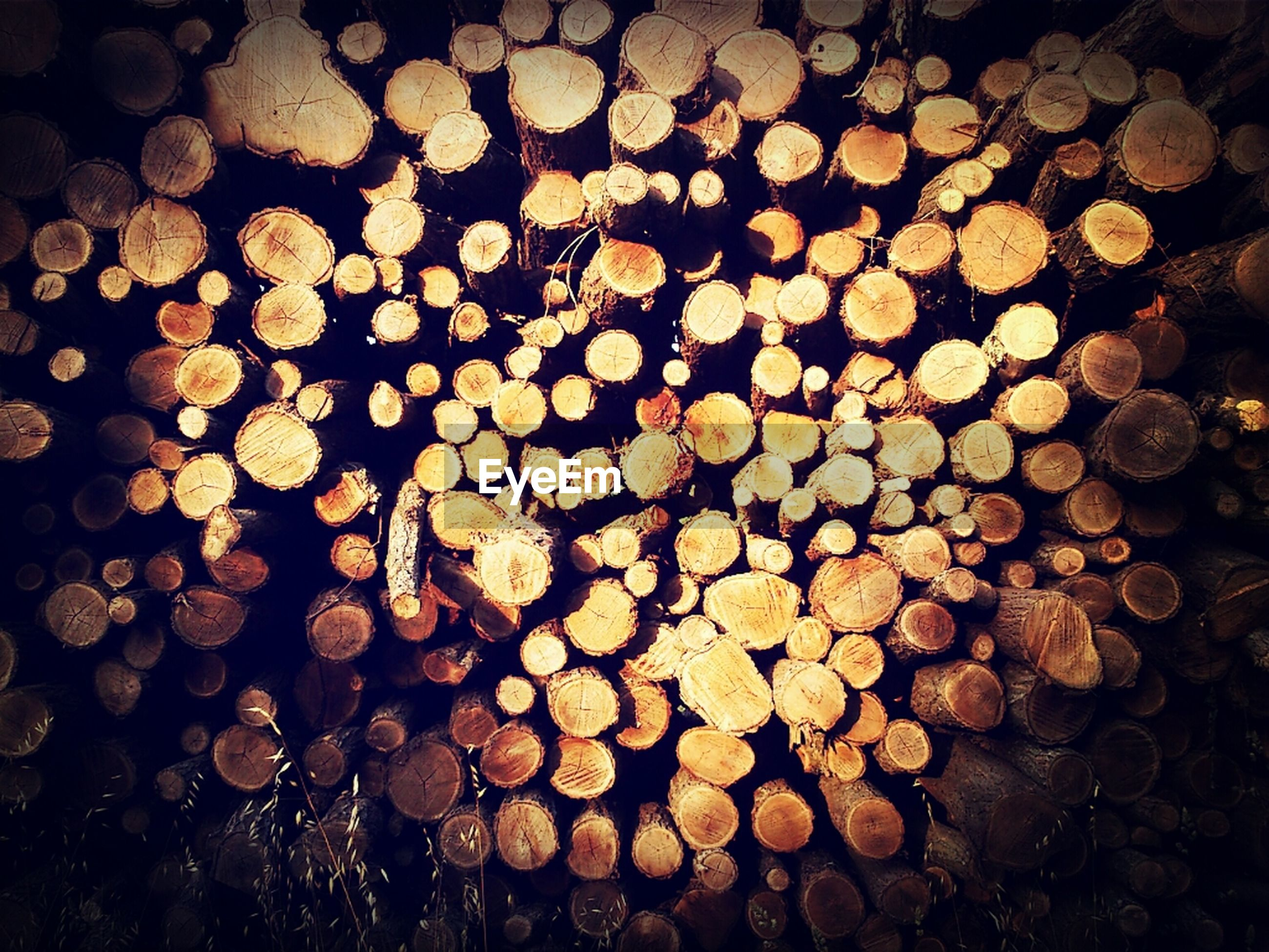 abundance, large group of objects, full frame, night, backgrounds, illuminated, high angle view, arrangement, no people, pattern, in a row, lighting equipment, wood - material, repetition, outdoors, nature, close-up, decoration, textured