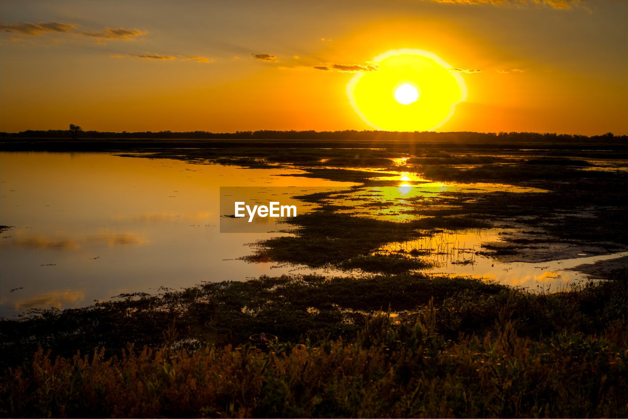sunset, sun, beauty in nature, nature, orange color, reflection, scenics, tranquil scene, tranquility, water, sky, sunlight, outdoors, idyllic, silhouette, no people, yellow, landscape, tree, sea