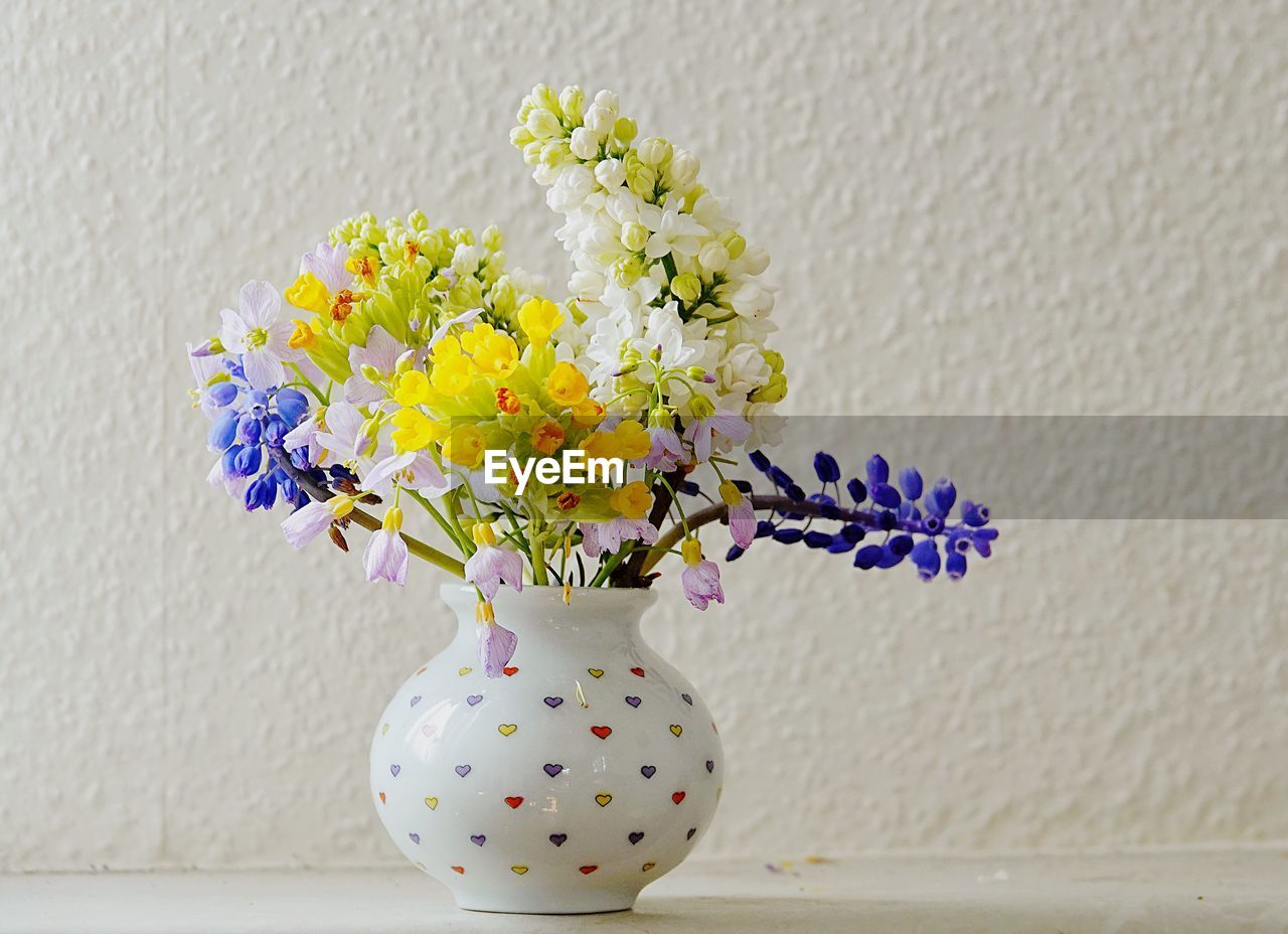 flowering plant, flower, vase, wall - building feature, vulnerability, fragility, decoration, plant, freshness, flower head, table, nature, indoors, close-up, no people, beauty in nature, inflorescence, flower arrangement, still life, white color, purple, bunch of flowers, softness, bouquet, flower pot