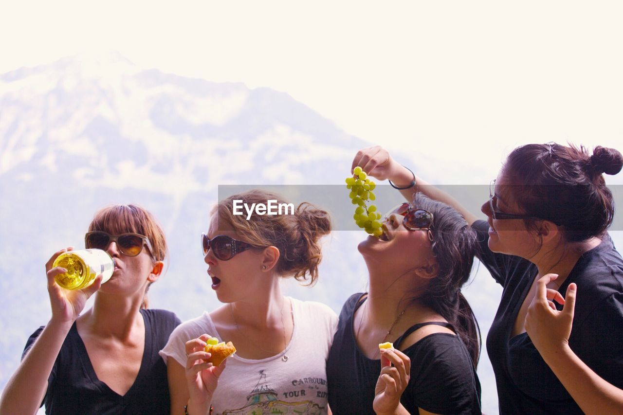 Four female friends in vacations