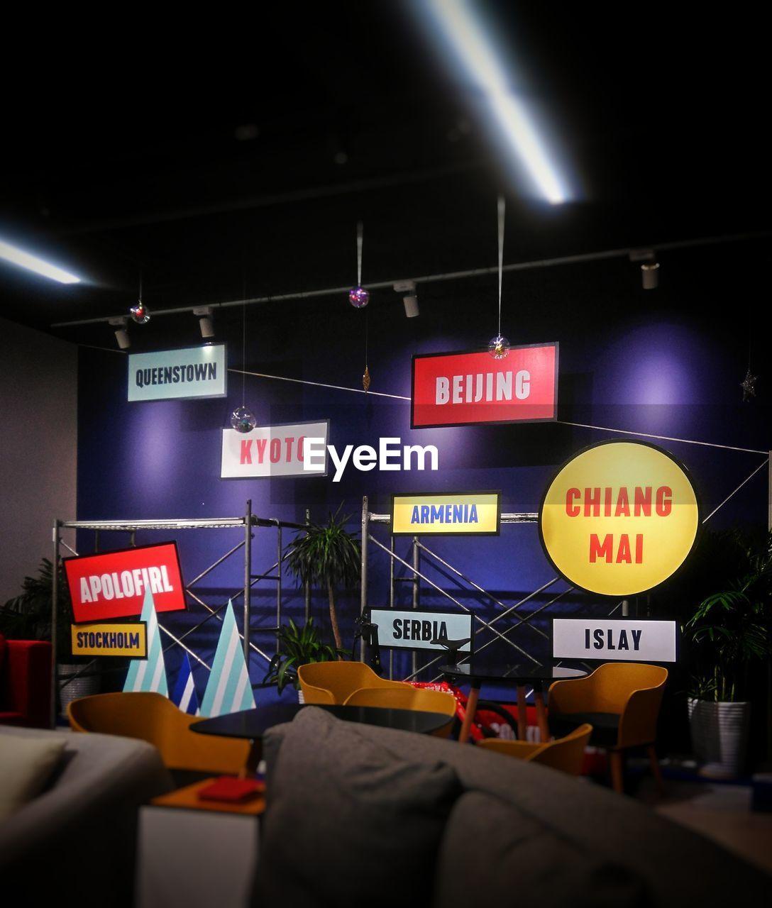 text, night, illuminated, communication, lighting equipment, indoors, real people, city