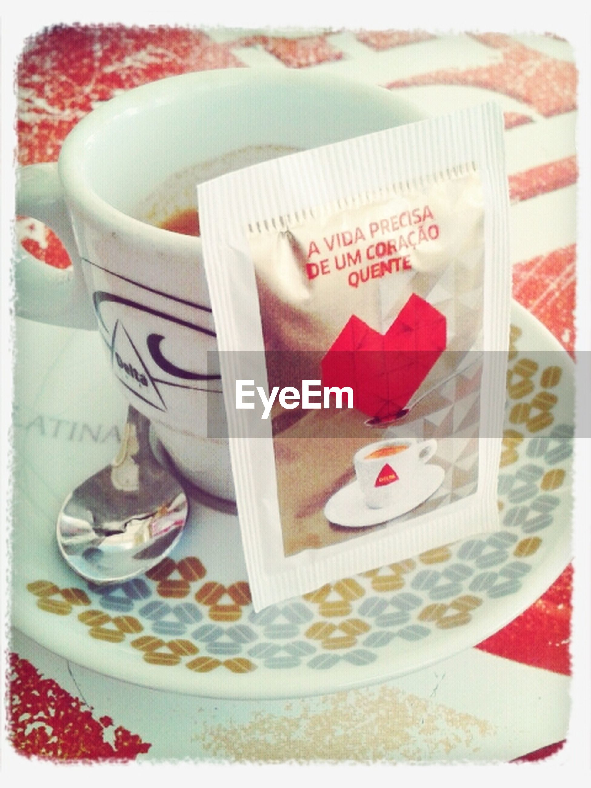 transfer print, indoors, auto post production filter, text, western script, food and drink, still life, communication, red, table, high angle view, close-up, sweet food, plate, heart shape, dessert, creativity, coffee cup, cake, food