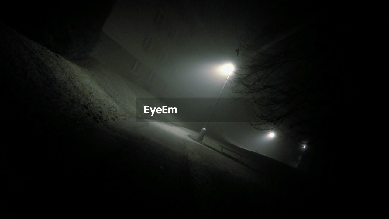 illuminated, night, lighting equipment, dark, moon, no people, outdoors, street light
