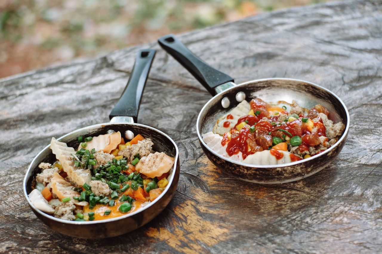 food, food and drink, freshness, table, focus on foreground, healthy eating, no people, kitchen utensil, bowl, wellbeing, ready-to-eat, eating utensil, close-up, wood - material, spoon, still life, vegetable, asian food, indoors, herb, crockery, garnish