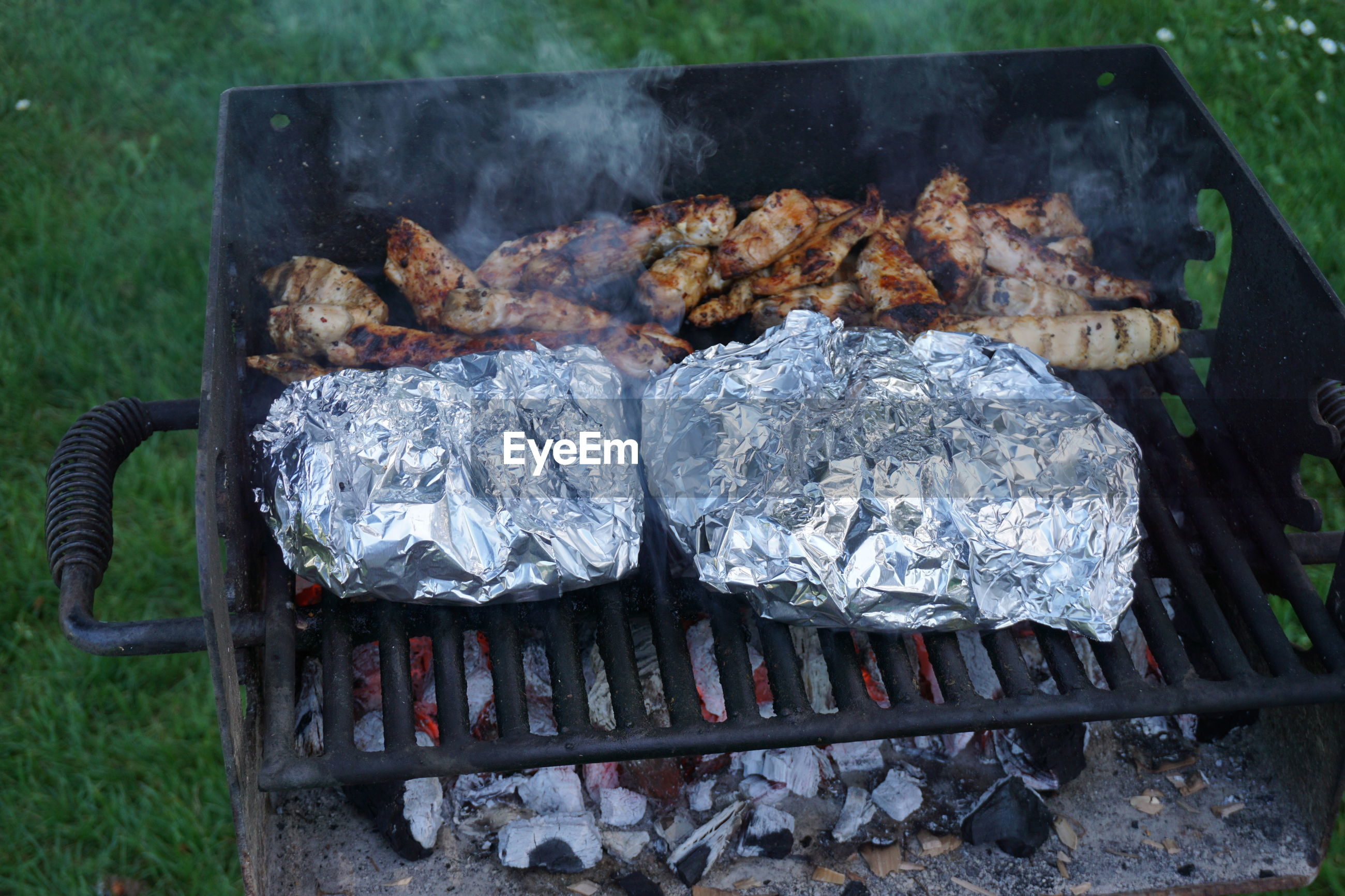 Close-up of barbecuing food