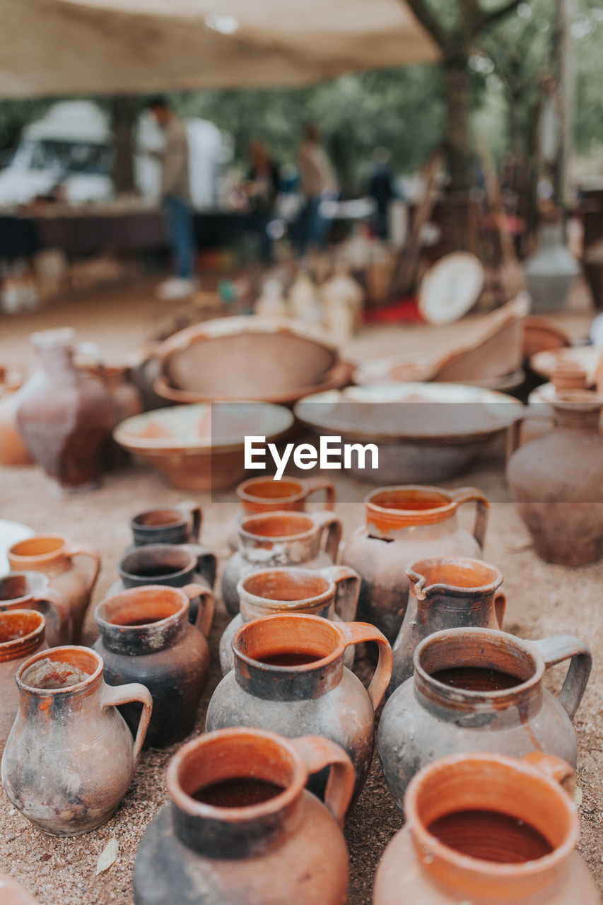High Angle View Of Earthenware For Sale