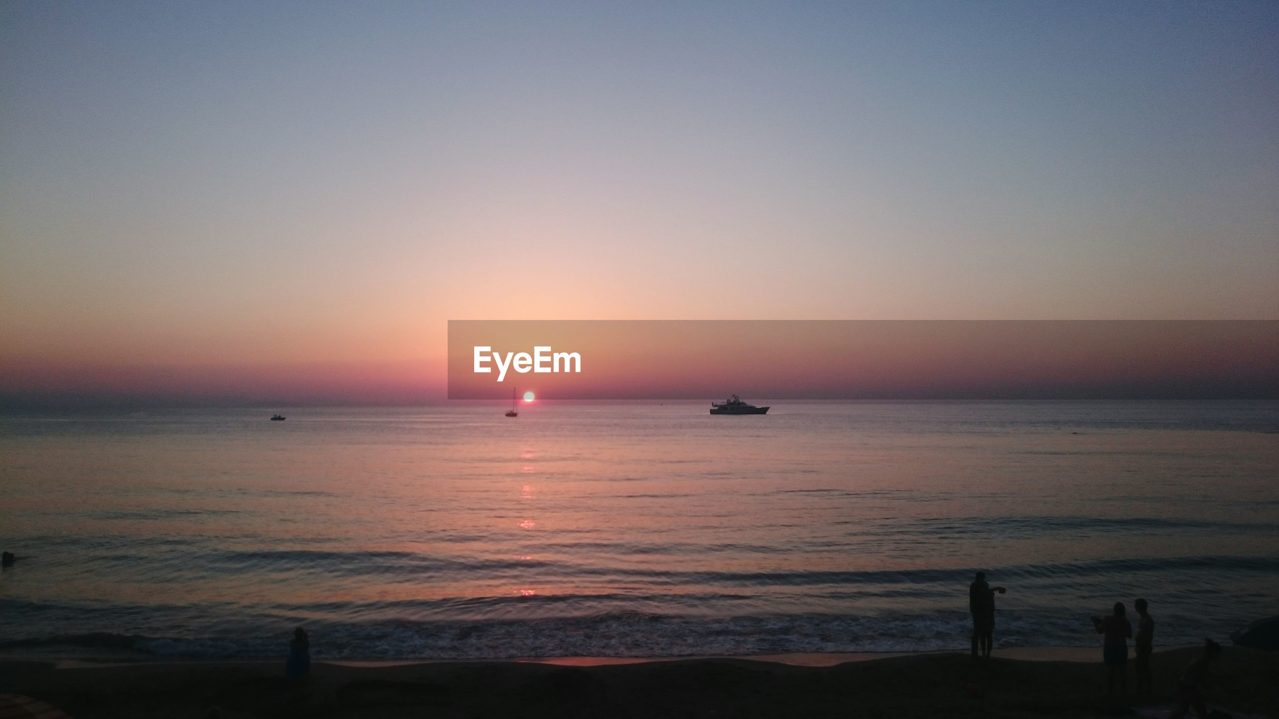 Scenic view of mediterranean sea against clear sky during sunset