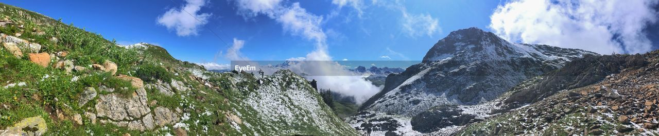 beauty in nature, sky, scenics - nature, mountain, cloud - sky, panoramic, nature, no people, tranquil scene, tranquility, water, waterfall, day, non-urban scene, idyllic, plant, mountain range, motion, rock, flowing water, outdoors, flowing