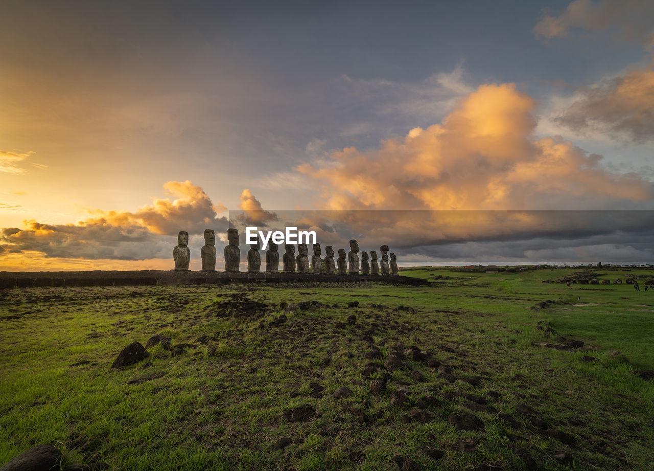 A photo depicting the famous moai of rapa nui aka easter island