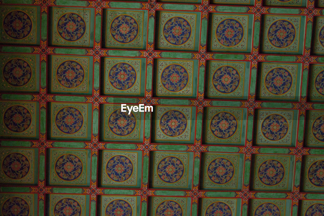 pattern, full frame, no people, backgrounds, design, indoors, art and craft, close-up, architecture, built structure, floral pattern, creativity, craft, green color, multi colored, large group of objects, history, the past, in a row, architecture and art, ornate, ceiling