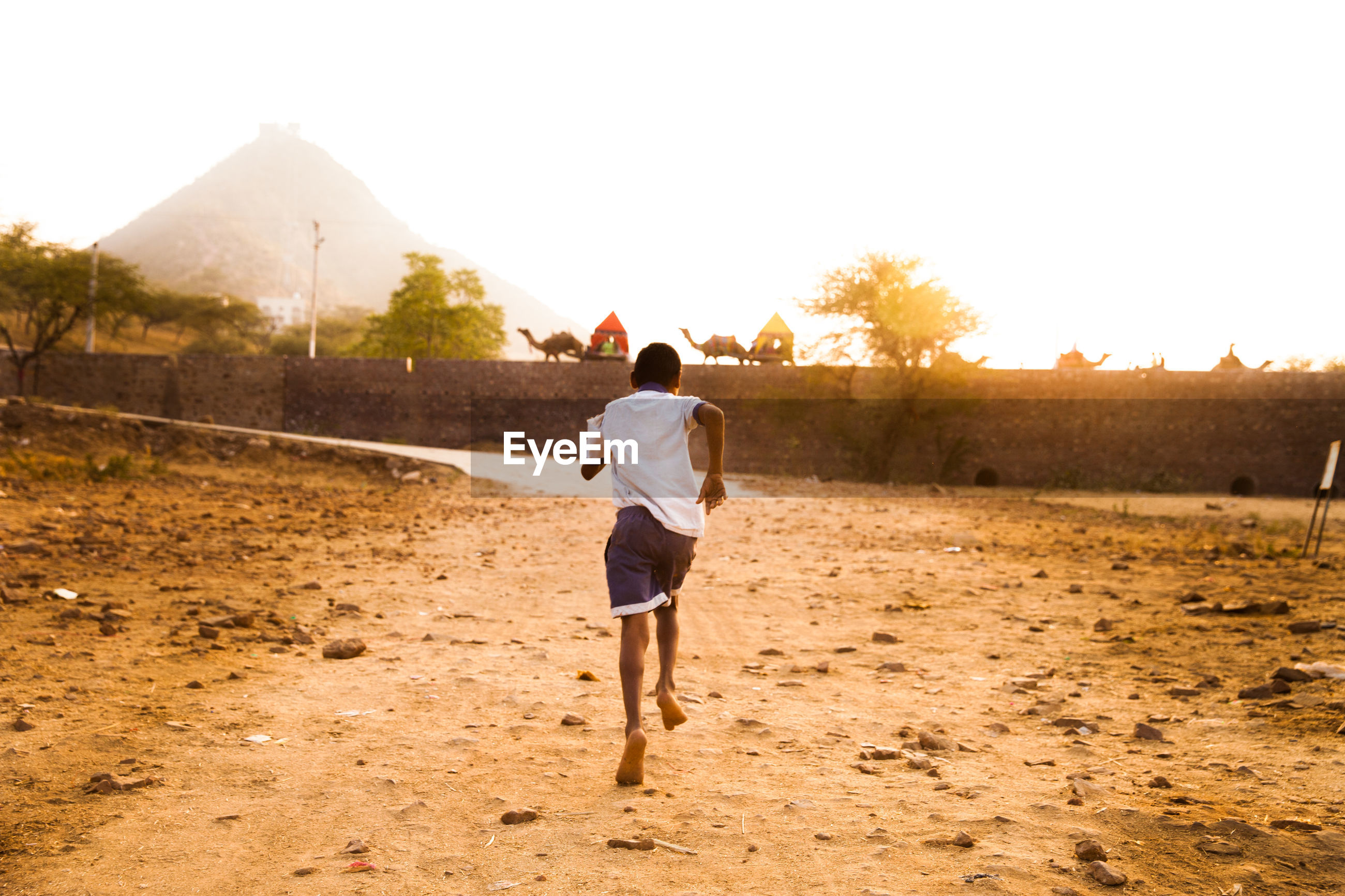Rear view of boy running on field against clear sky during sunset