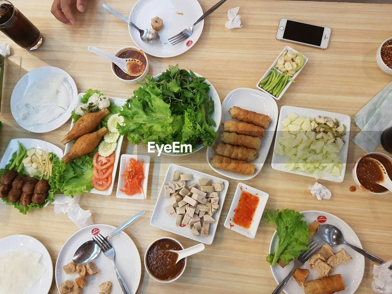food and drink, high angle view, table, bowl, indoors, vegetable, food, salad, plate, healthy eating, freshness, variation, lettuce, ready-to-eat, no people, meal, day
