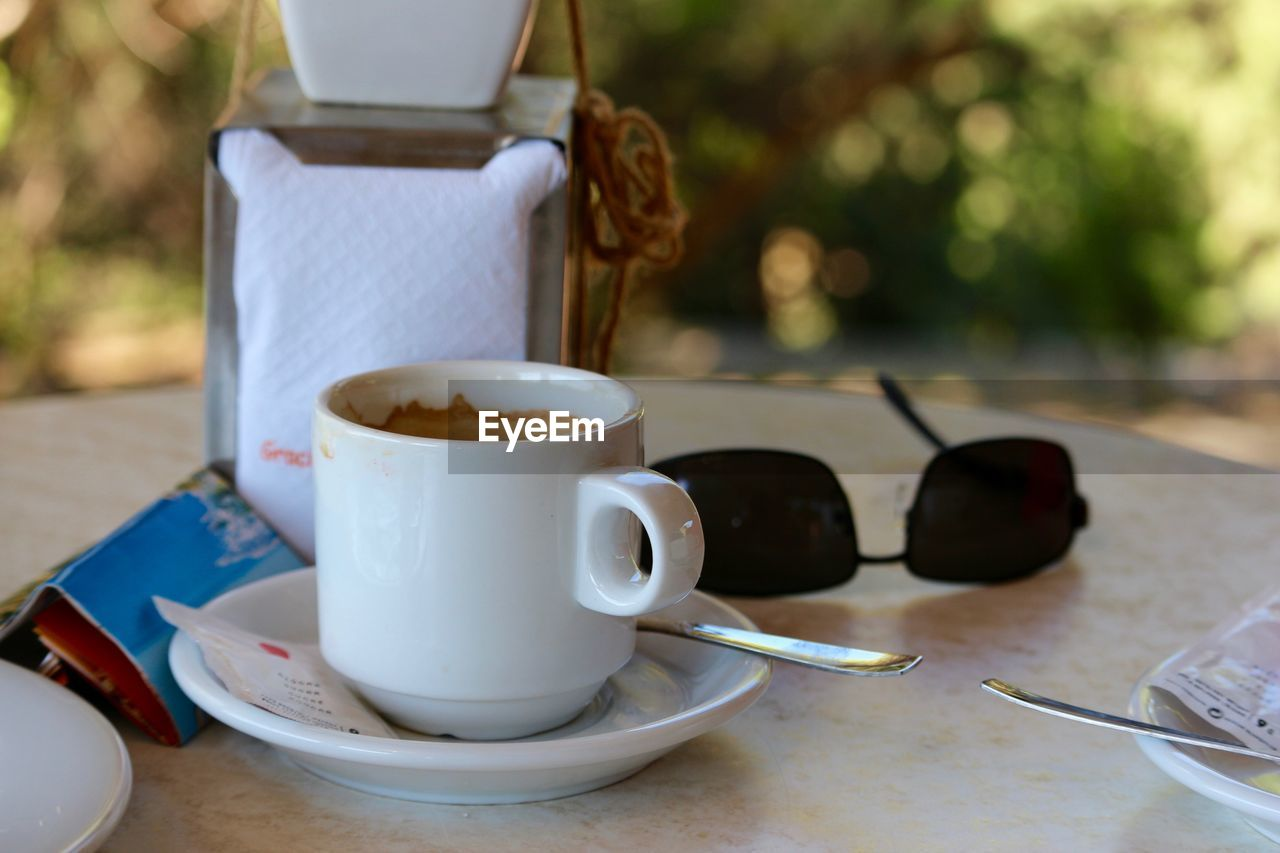 Close-Up Of Fresh Coffee On Table At Cafe
