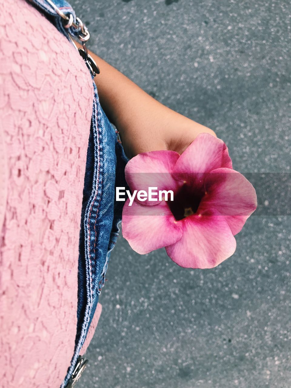Midsection of woman holding flower on road