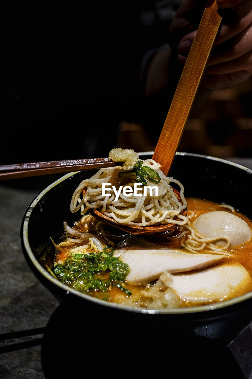 food and drink, food, pasta, chopsticks, ready-to-eat, asian food, freshness, italian food, japanese food, indoors, table, bowl, soup, close-up, healthy eating, no people, still life, wellbeing, noodle soup, chinese food, garnish, spaghetti, temptation, crockery