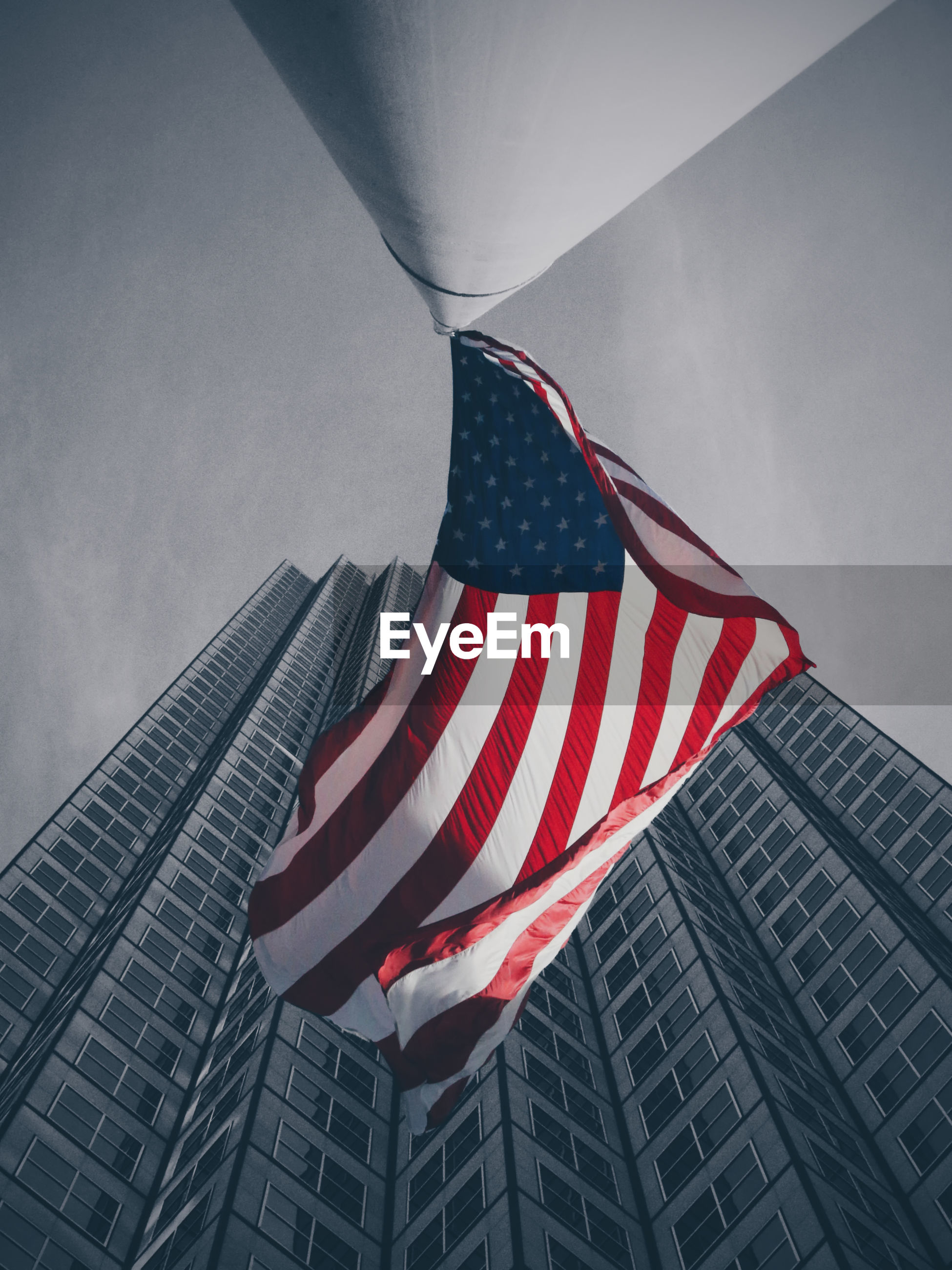 Low angle view of american flag