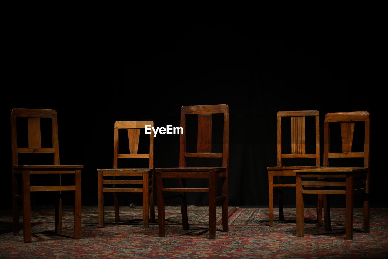 chair, absence, no people, copy space, wood - material, night, indoors, seat, black background, nature