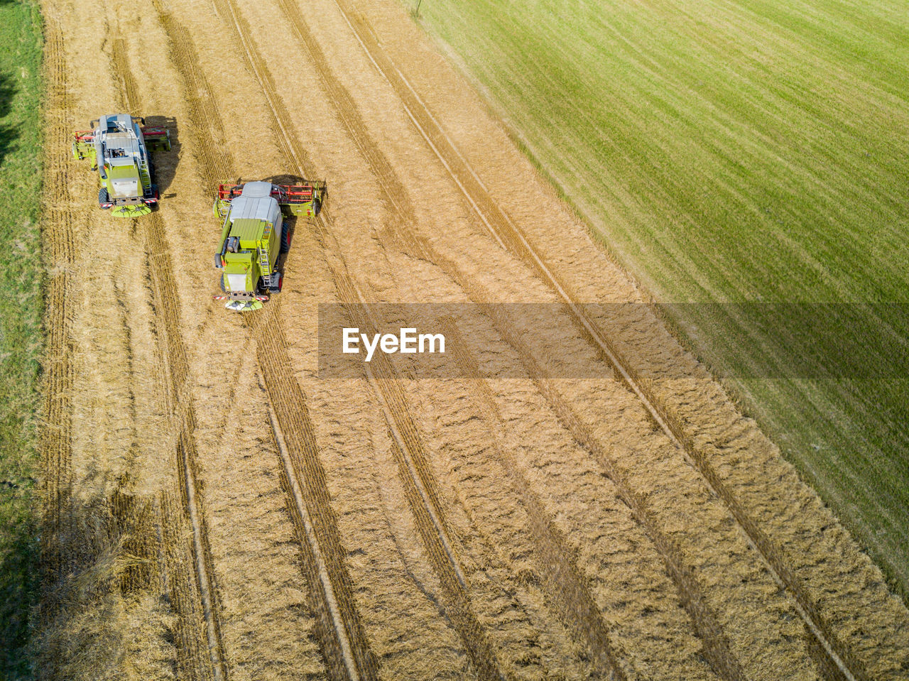 High Angle View Of Tractors In Field