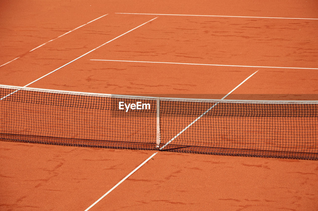 Close-up of a net of an outdoor tennis court