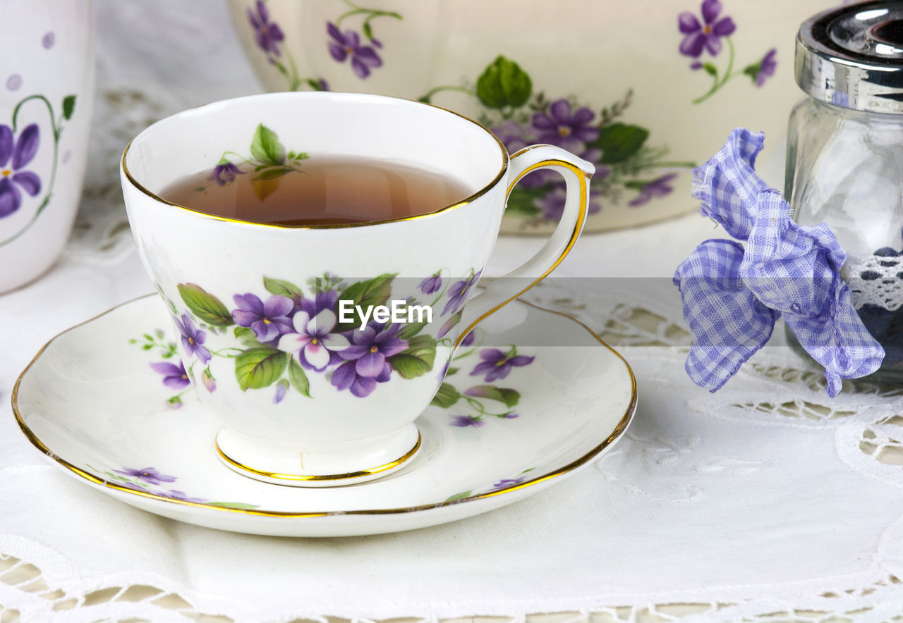 Close-Up Of An Elegant Tea Cup On Saucer