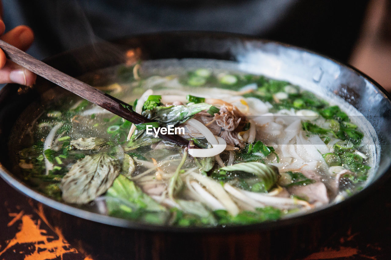 Close-up of soup in bowl