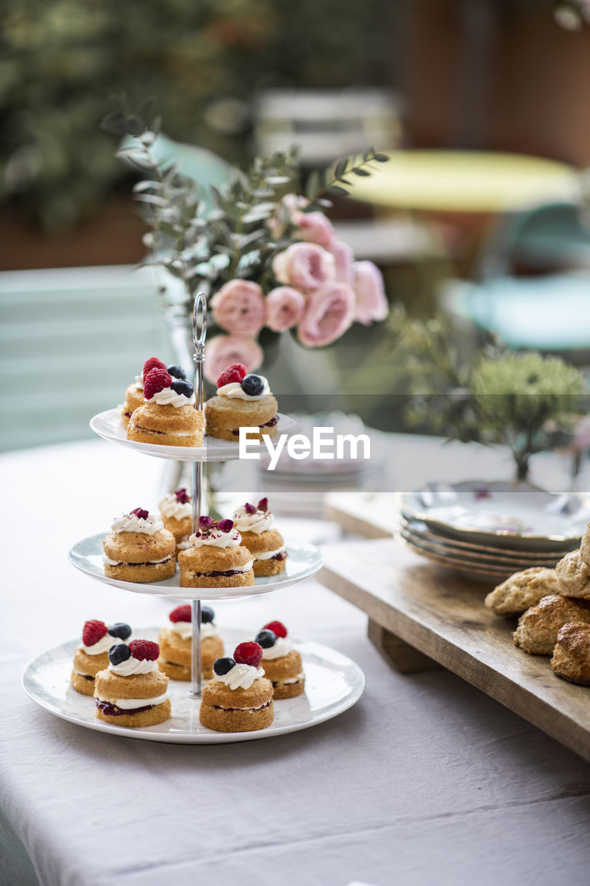 food, food and drink, sweet food, sweet, indulgence, dessert, freshness, temptation, table, baked, ready-to-eat, cakestand, cake, indoors, unhealthy eating, no people, still life, focus on foreground, celebration, plate, tray, tart - dessert, snack
