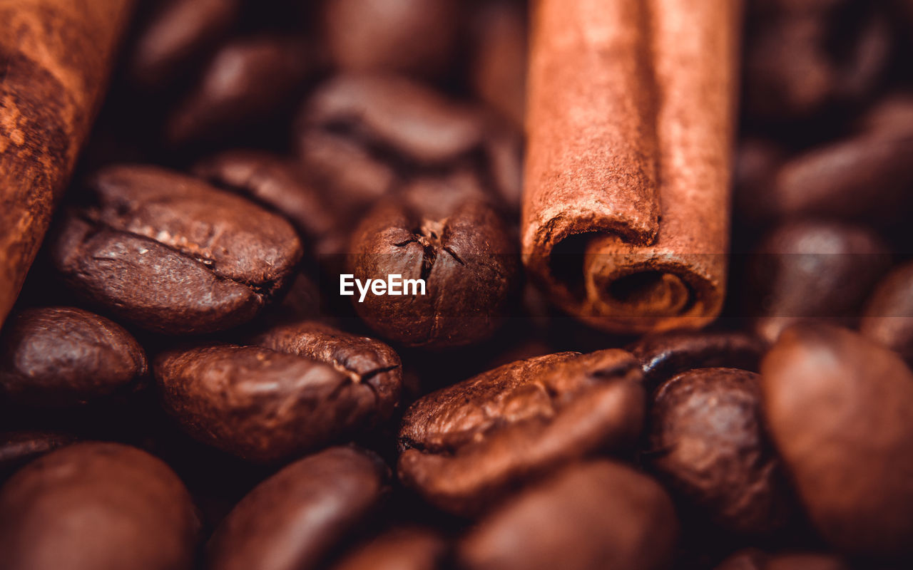 Detail shot of coffee beans and cinnamon