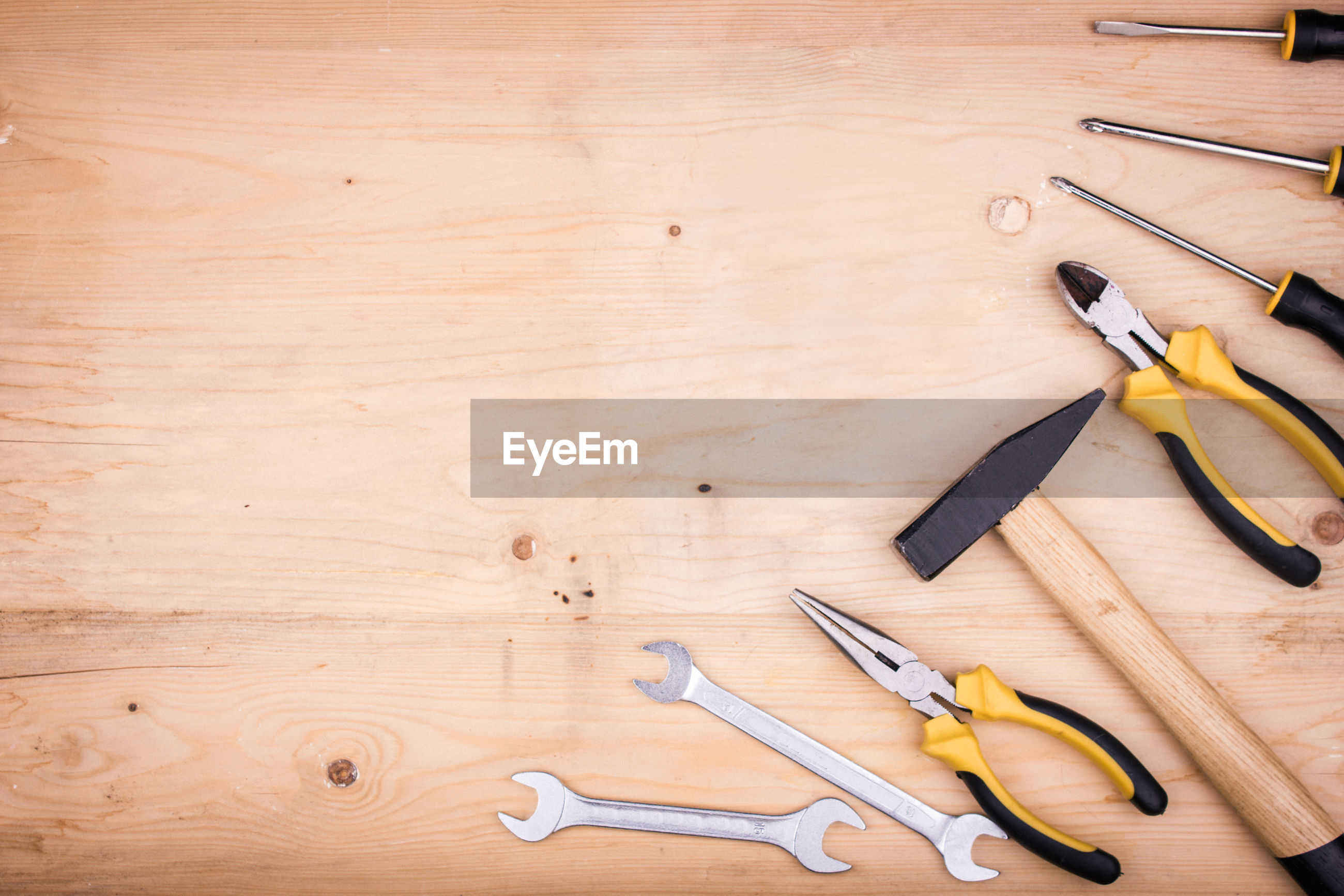 Directly above shot of work tools on table