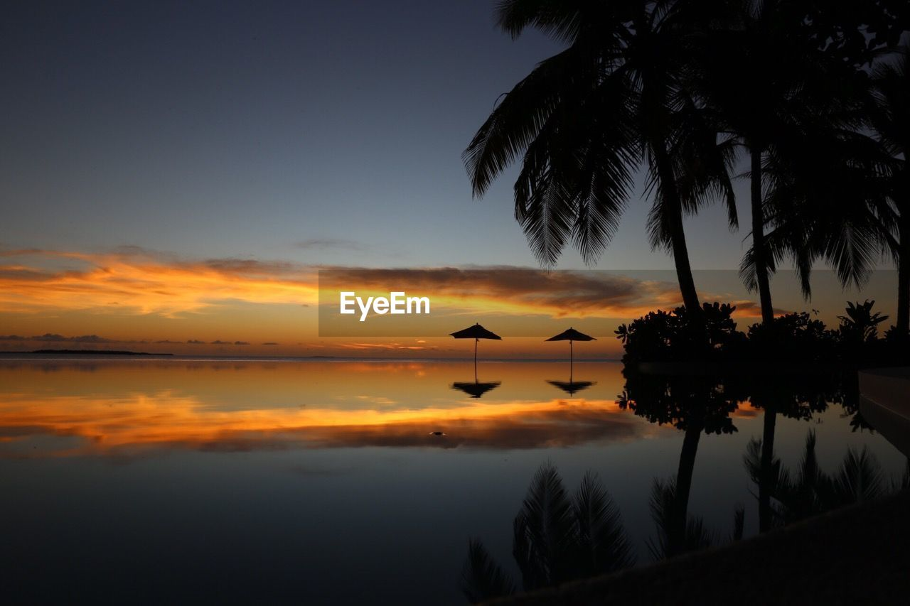 sunset, beauty in nature, silhouette, reflection, nature, tree, tranquil scene, scenics, tranquility, sky, water, palm tree, orange color, idyllic, lake, outdoors, no people, day