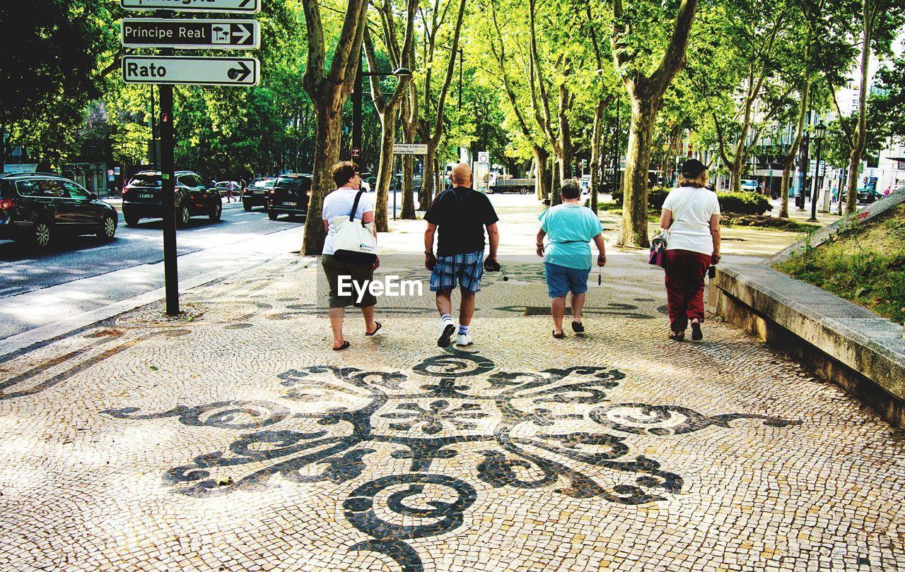 Rear View Of Friends Walking On Patterned Sidewalk Against Trees