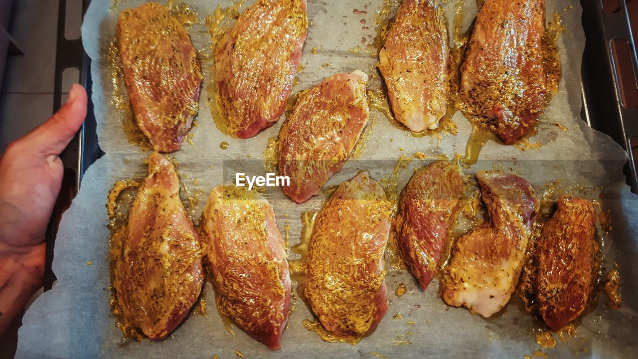 Directly Above Shot Of Marinated Chicken In Tray