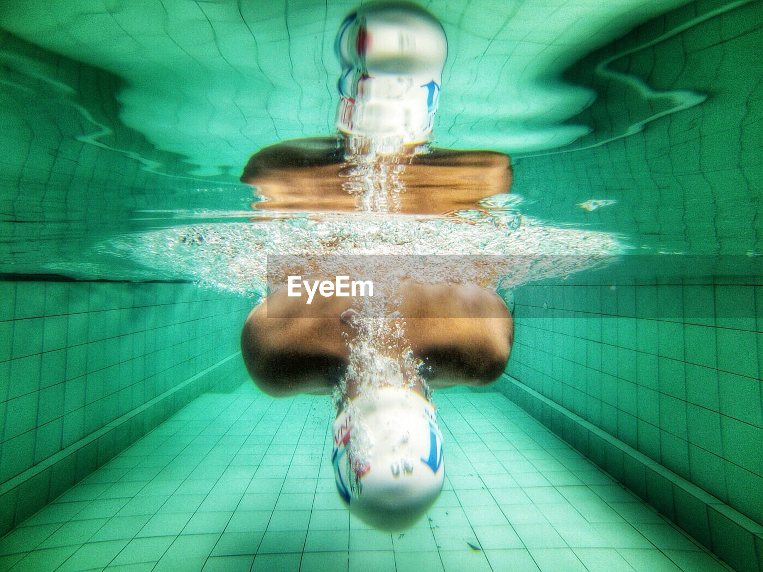 Man swimming in the pool